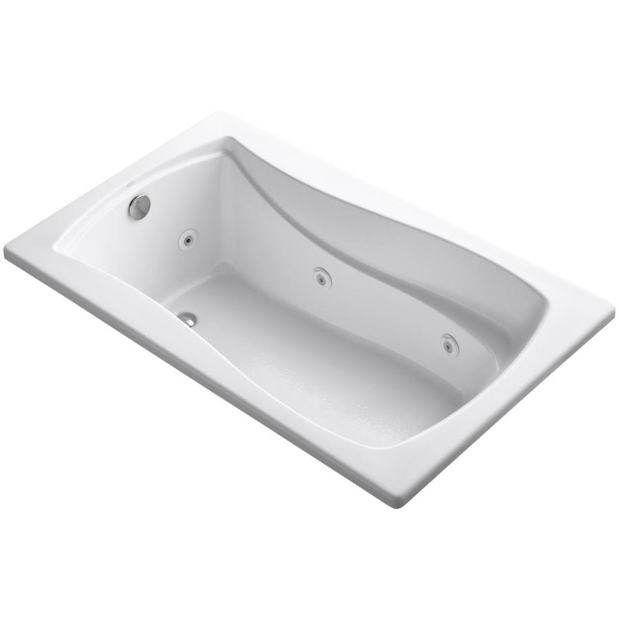 KOHLER Mariposa White Acrylic Hourglass In Rectangle Whirlpool Tub (Common: 36-in x 60-in; Actual: 20.0000-in x 36.0000-in x 60.0000-in)