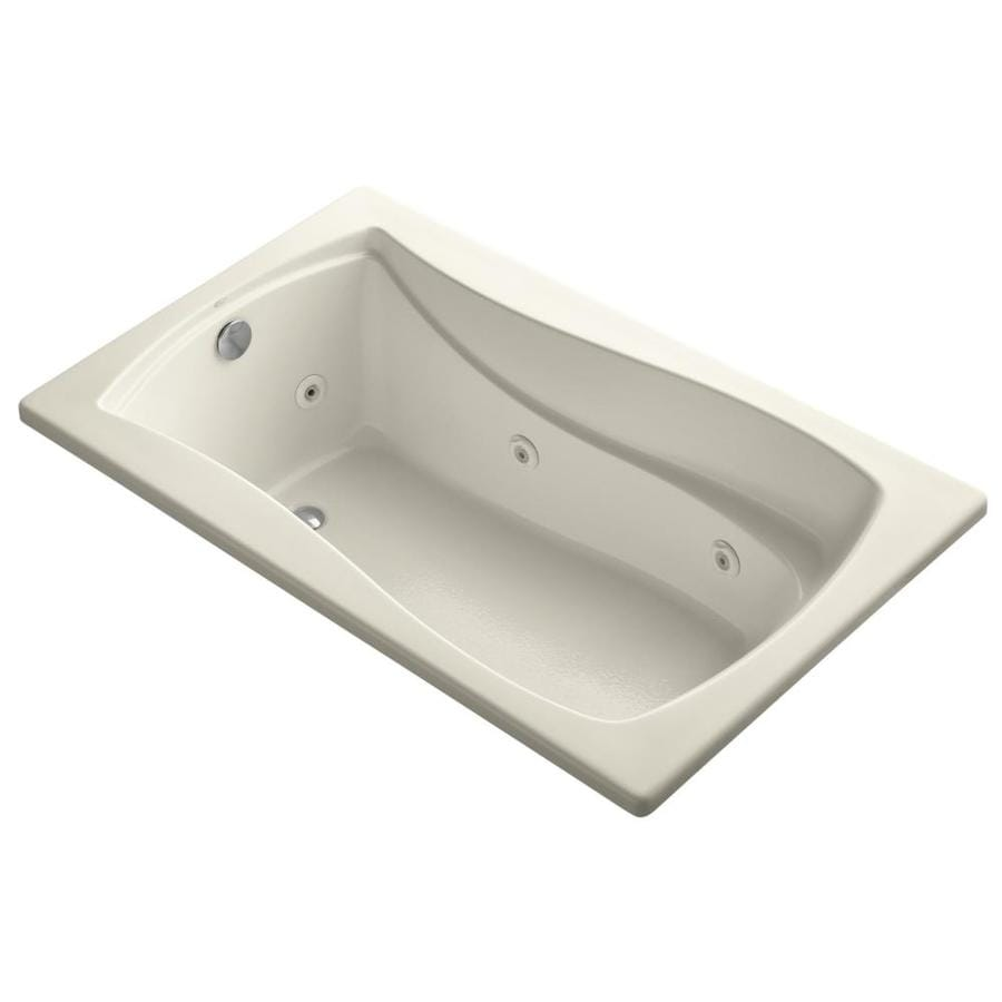KOHLER Mariposa Almond Acrylic Hourglass In Rectangle Whirlpool Tub (Common: 36-in x 60-in; Actual: 20.0000-in x 36.0000-in x 60.0000-in)