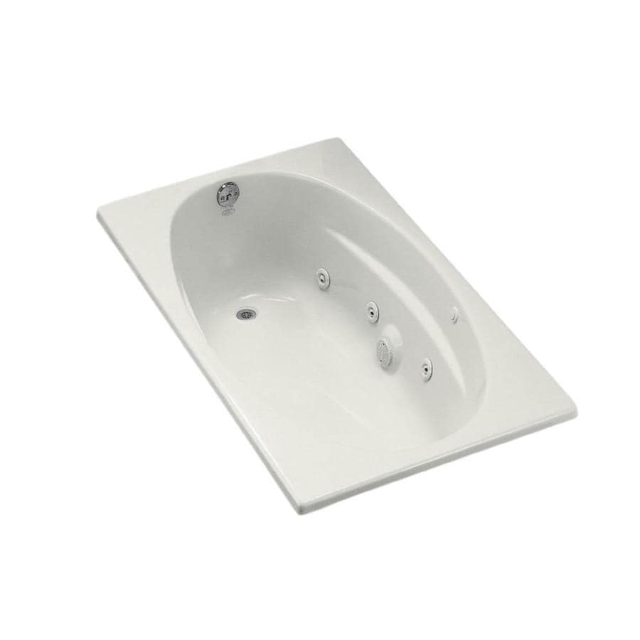 KOHLER 60-in White Acrylic Drop-In Whirlpool Tub with Left-Hand Drain