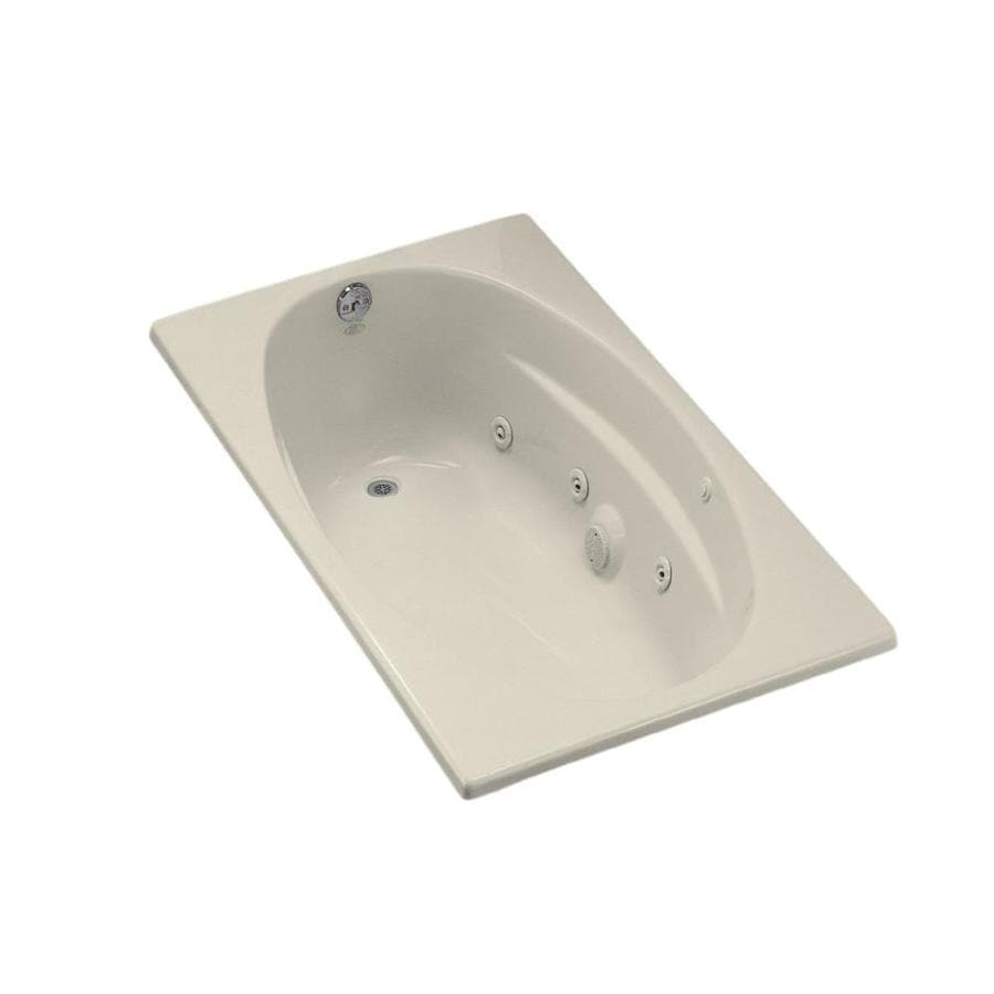 KOHLER 60-in Almond Acrylic Drop-In Whirlpool Tub with Left-Hand Drain