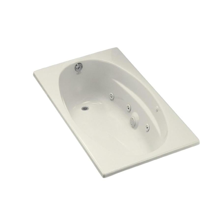 KOHLER 60-in Biscuit Acrylic Drop-In Whirlpool Tub with Left-Hand Drain