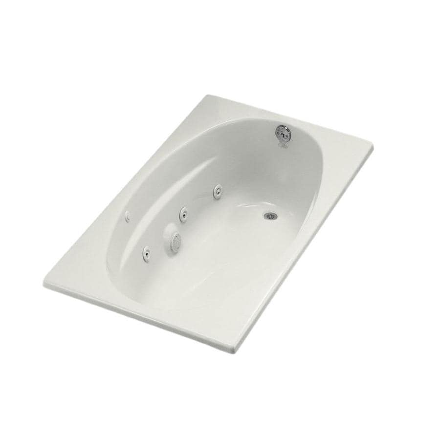 KOHLER 60-in White Acrylic Drop-In Whirlpool Tub with Right-Hand Drain
