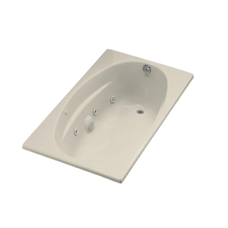KOHLER 60-in Almond Acrylic Drop-In Whirlpool Tub with Right-Hand Drain