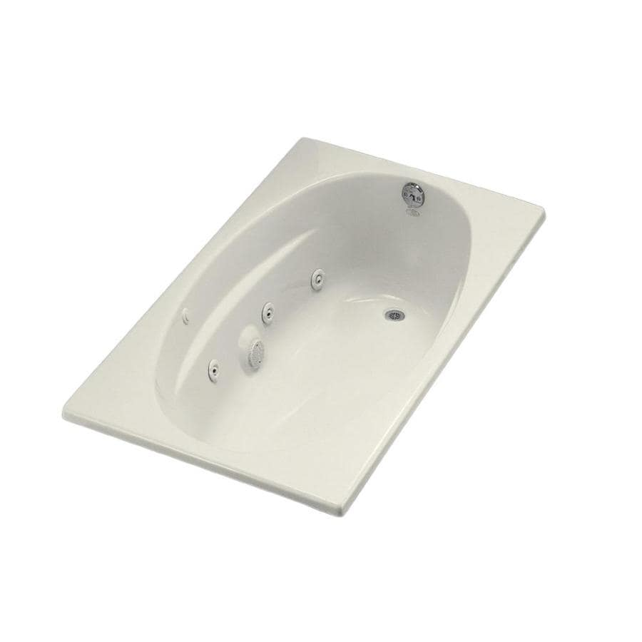 KOHLER 60-in Biscuit Acrylic Drop-In Whirlpool Tub with Right-Hand Drain