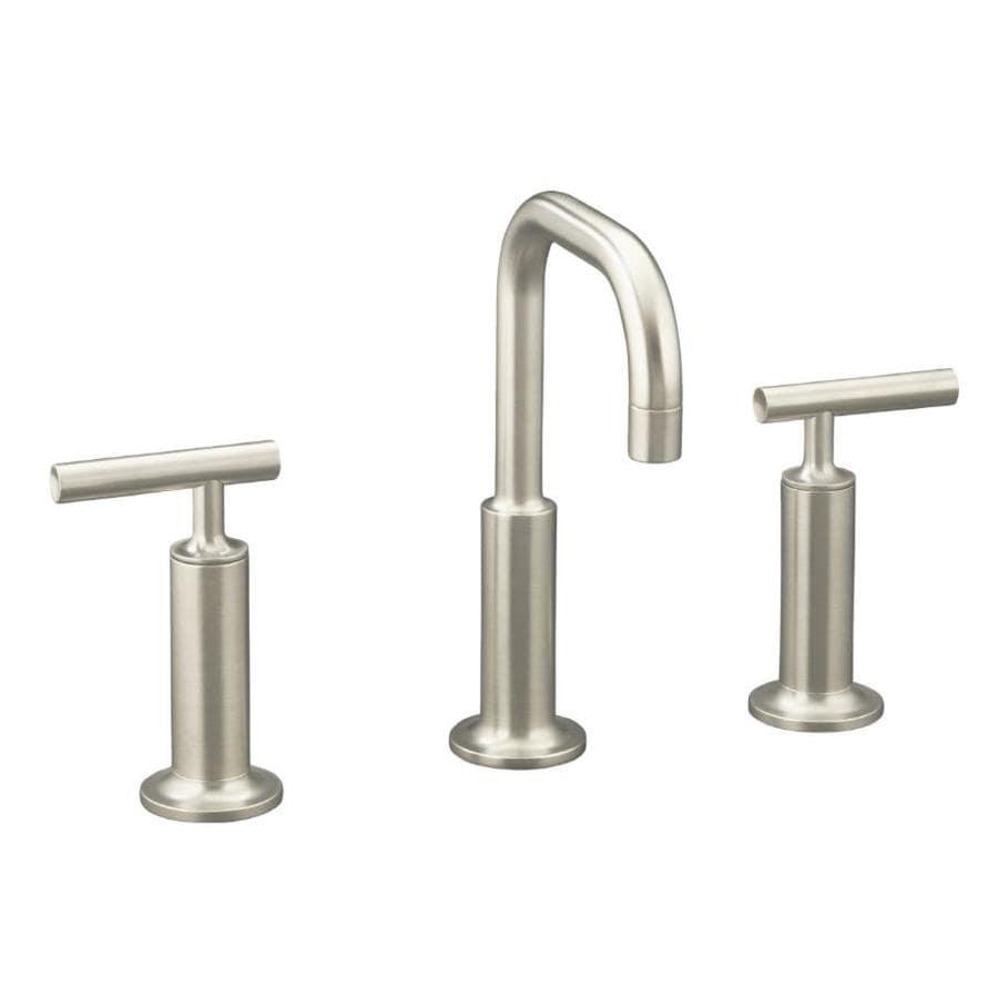 KOHLER Purist Vibrant Brushed Nickel 2-Handle Widespread WaterSense Bathroom Faucet (Drain Included)