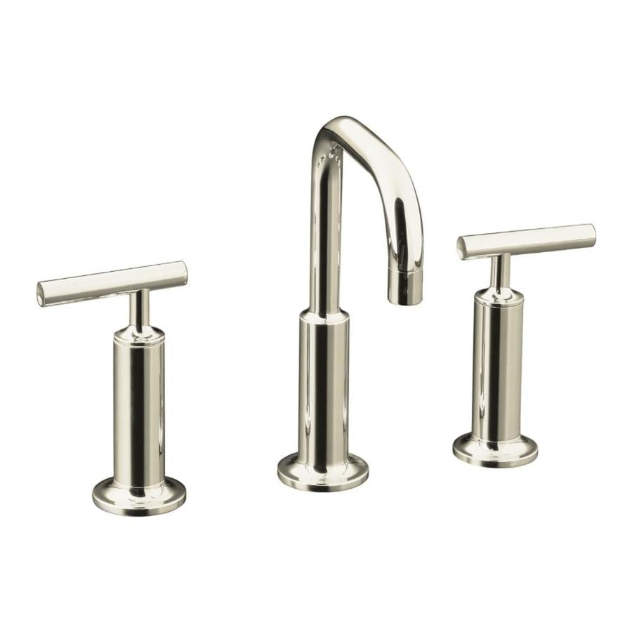 KOHLER Purist Vibrant Polished Nickel 2-Handle Widespread WaterSense Bathroom Faucet (Drain Included)