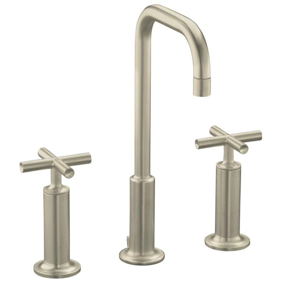 Kohler purist vibrant brushed nickel 2 handle widespread - Brushed nickel bathroom sink faucet ...