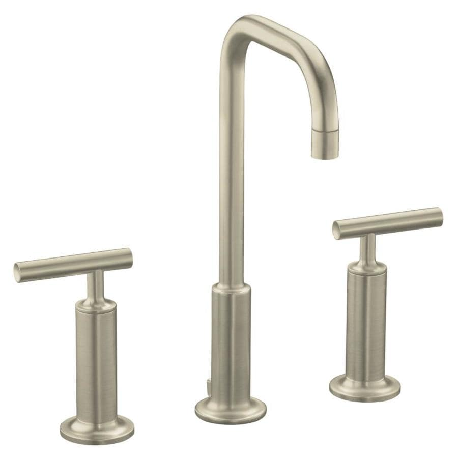 KOHLER Purist Vibrant Brushed Nickel 2-Handle Widespread WaterSense Bathroom Faucet (Drain Included)