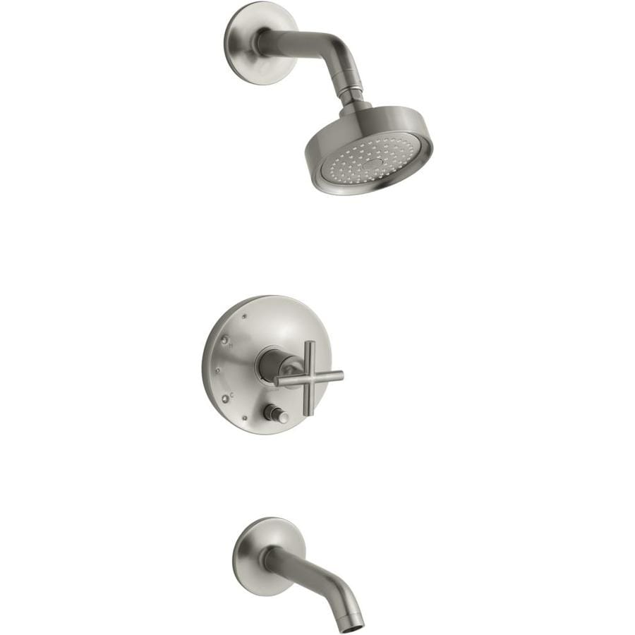 KOHLER Purist Vibrant Brushed Nickel 1-Handle Bathtub and Shower Faucet Trim Kit with Single Function Showerhead