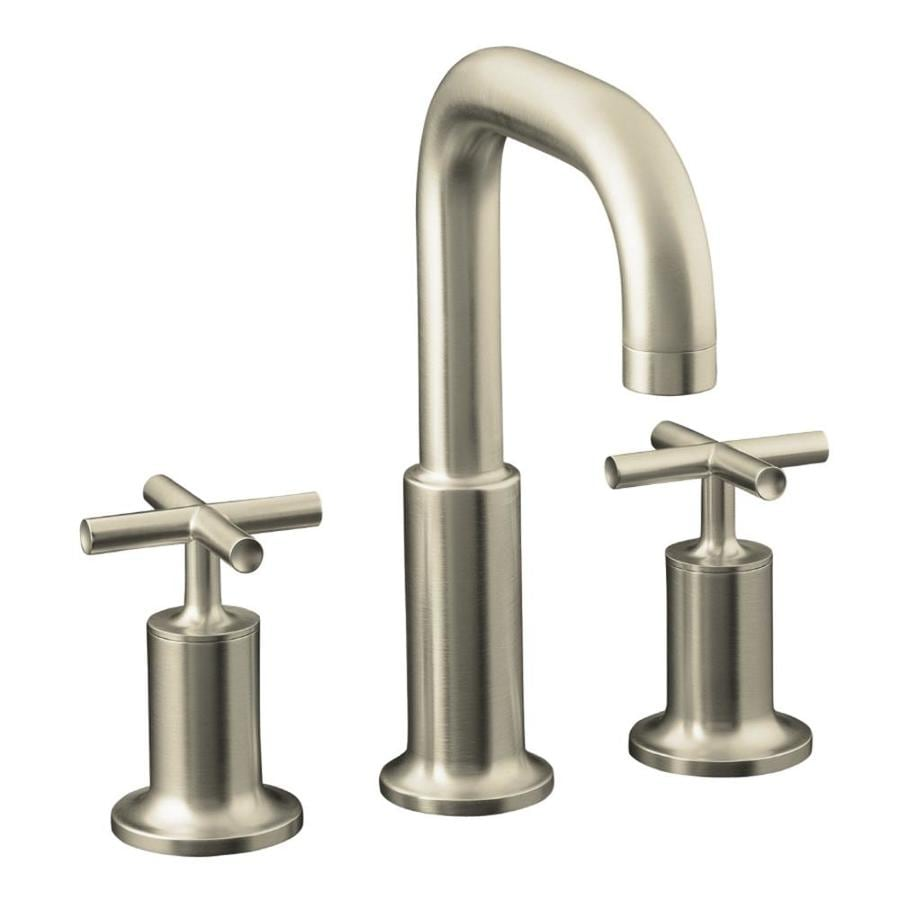 KOHLER Purist Vibrant Brushed Nickel 2-Handle Deck Mount Bathtub Faucet