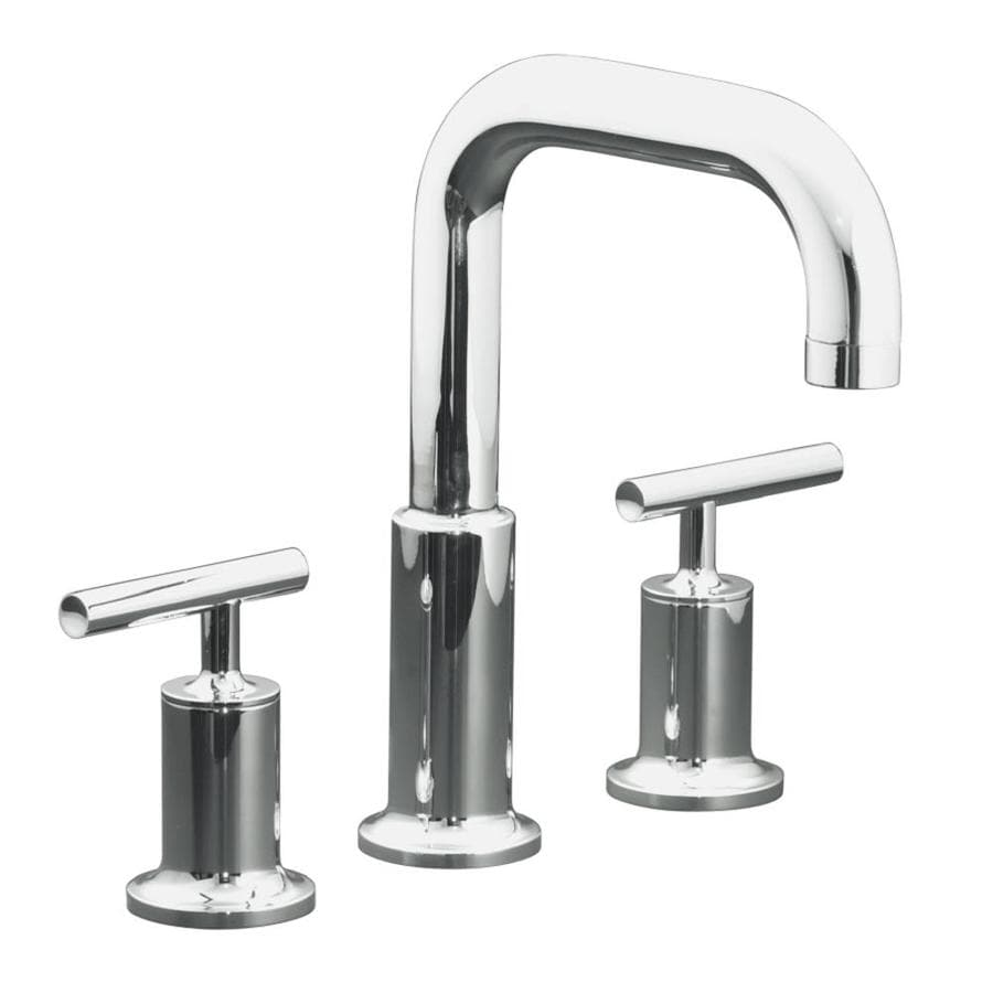 Kohler purist polished chrome 2 handle deck mount roman - Kohler two tone bathroom faucets ...