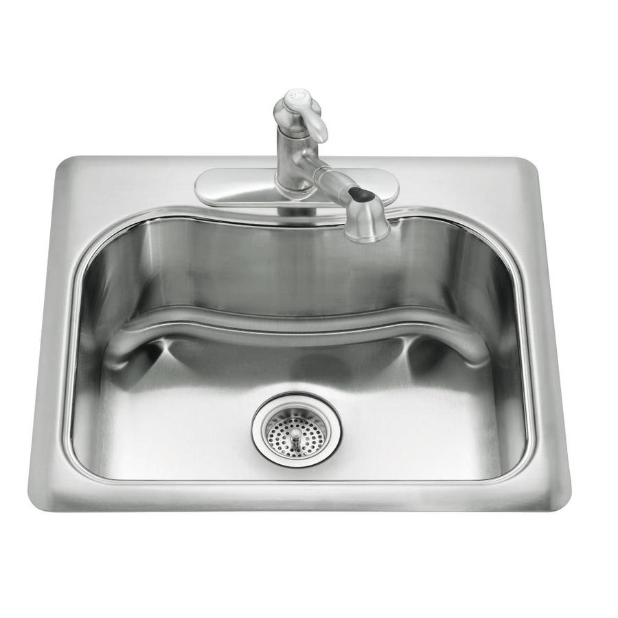 KOHLER Staccato 22-in x 25-in Stainless Steel Single-Basin Drop-in 1-Hole Residential Kitchen Sink