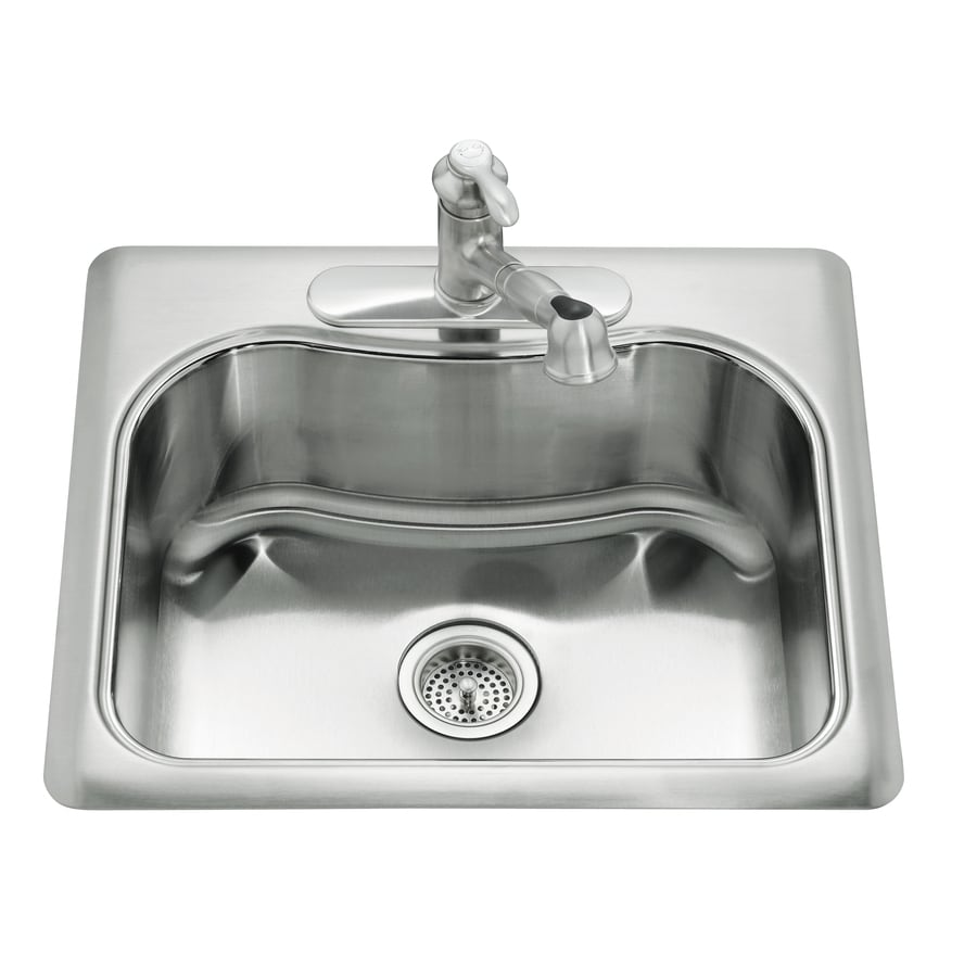 25 stainless steel kitchen sink shop kohler staccato 22 in x 25 in single basin stainless 7308