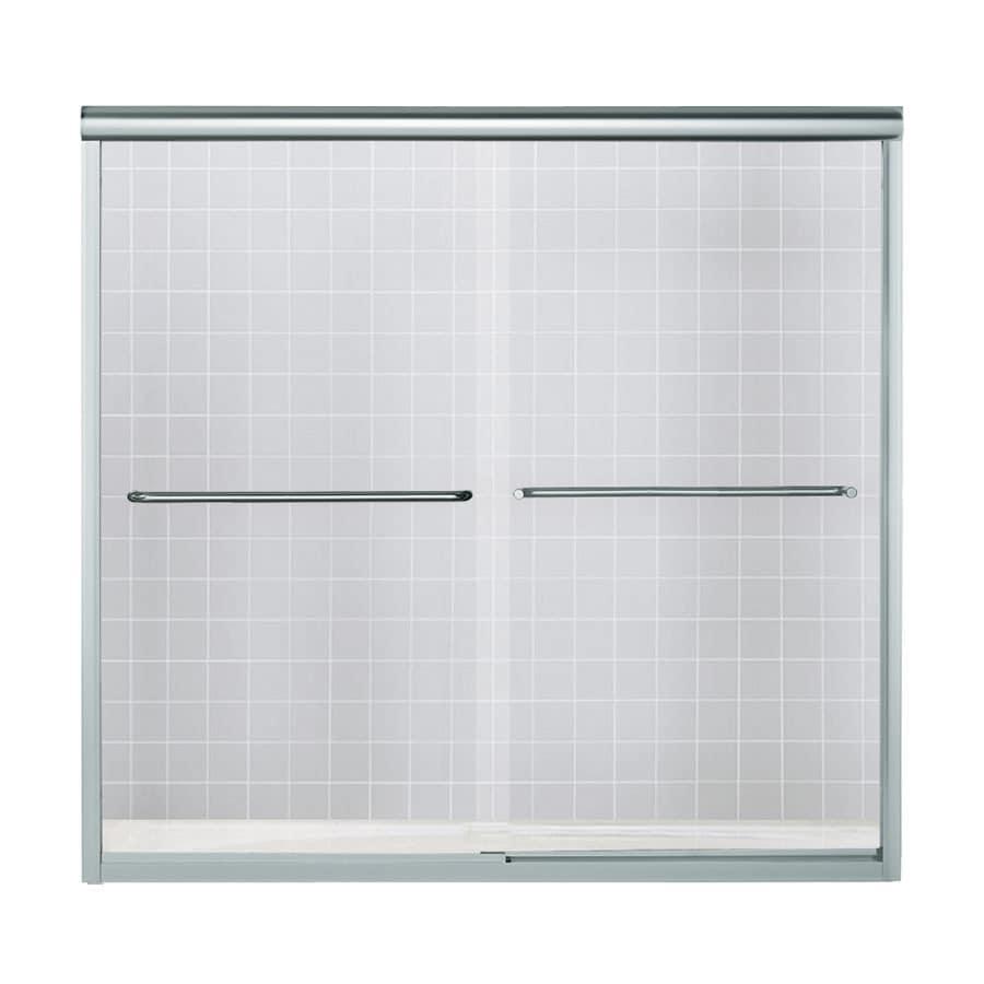 Sterling Finesse 57.5-in W x 55.75-in H Silver Framed Bathtub Door