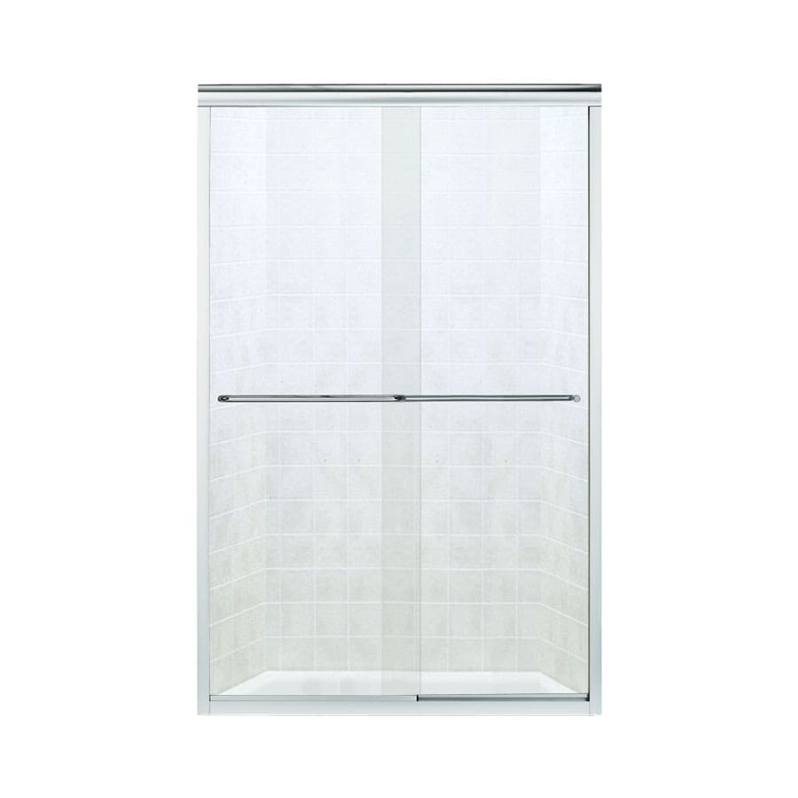 Sterling Finesse 45.75-in to 47.25-in Frameless Silver Sliding Shower Door