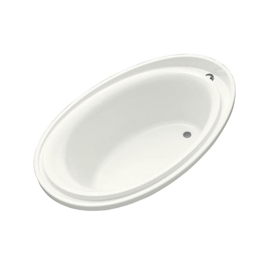 KOHLER Purist White Acrylic Oval Drop-in Bathtub with Reversible Drain (Common: 46-in x 72-in; Actual: 25.6875-in x 46-in x 72-in)