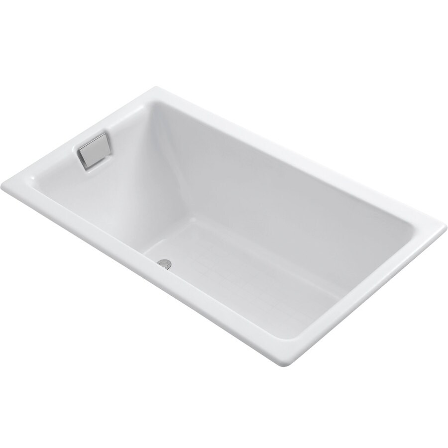 kohler tea for two white cast iron rectangular drop in bathtub with