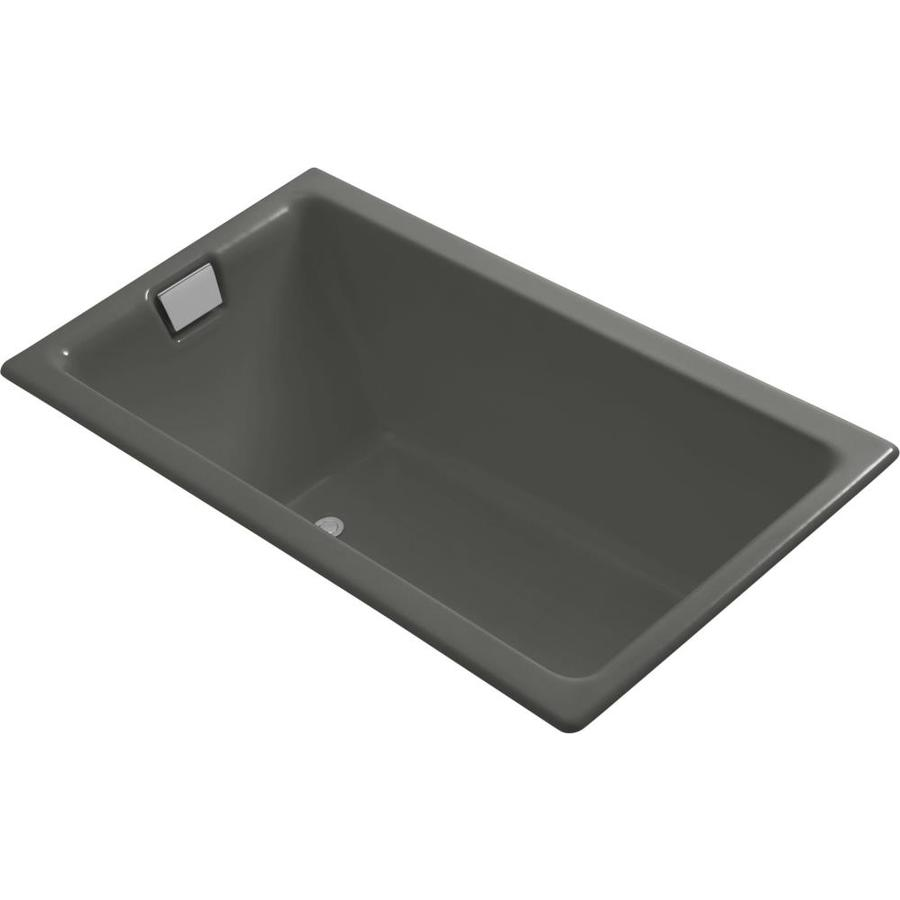 kohler tea for two thunder grey cast iron rectangular drop in bathtub