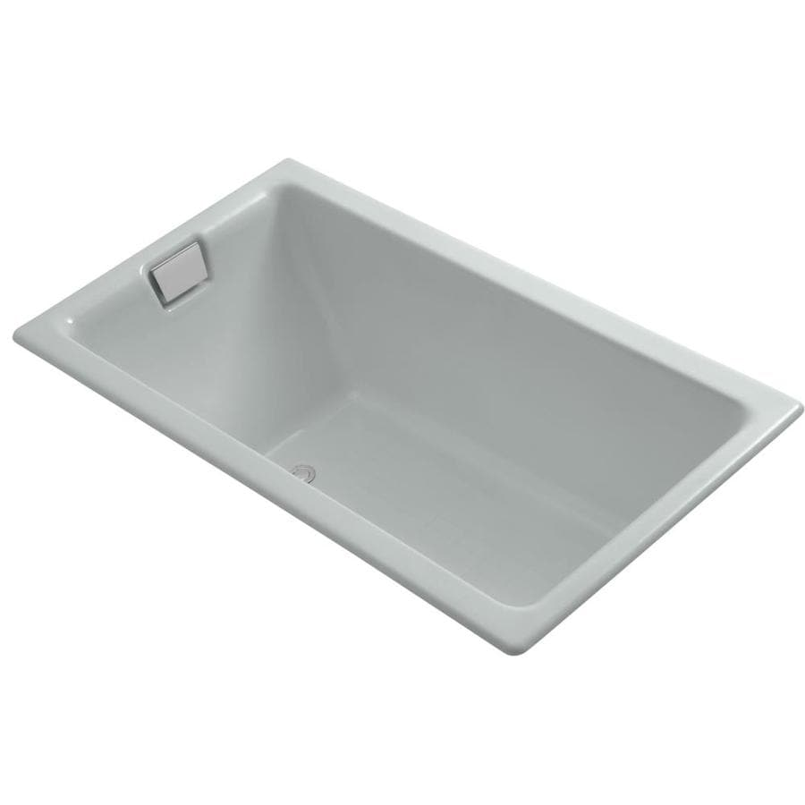 KOHLER Tea-For-Two Ice Grey Cast Iron Rectangular Drop-in Bathtub with Reversible Drain (Common: 36-in x 66-in; Actual: 24-in x 36-in x 66-in)