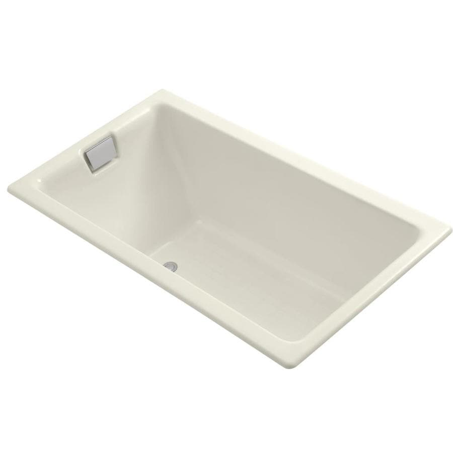 KOHLER Tea-For-Two Biscuit Cast Iron Rectangular Drop-in Bathtub with Reversible Drain (Common: 36-in x 66-in; Actual: 24-in x 36-in x 66-in)