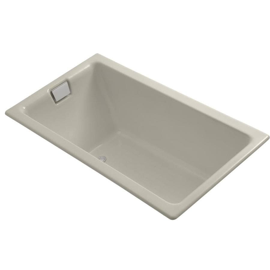 KOHLER Tea-for-Two 66-in Sandbar Cast Iron Drop-In Bathtub with Reversible Drain