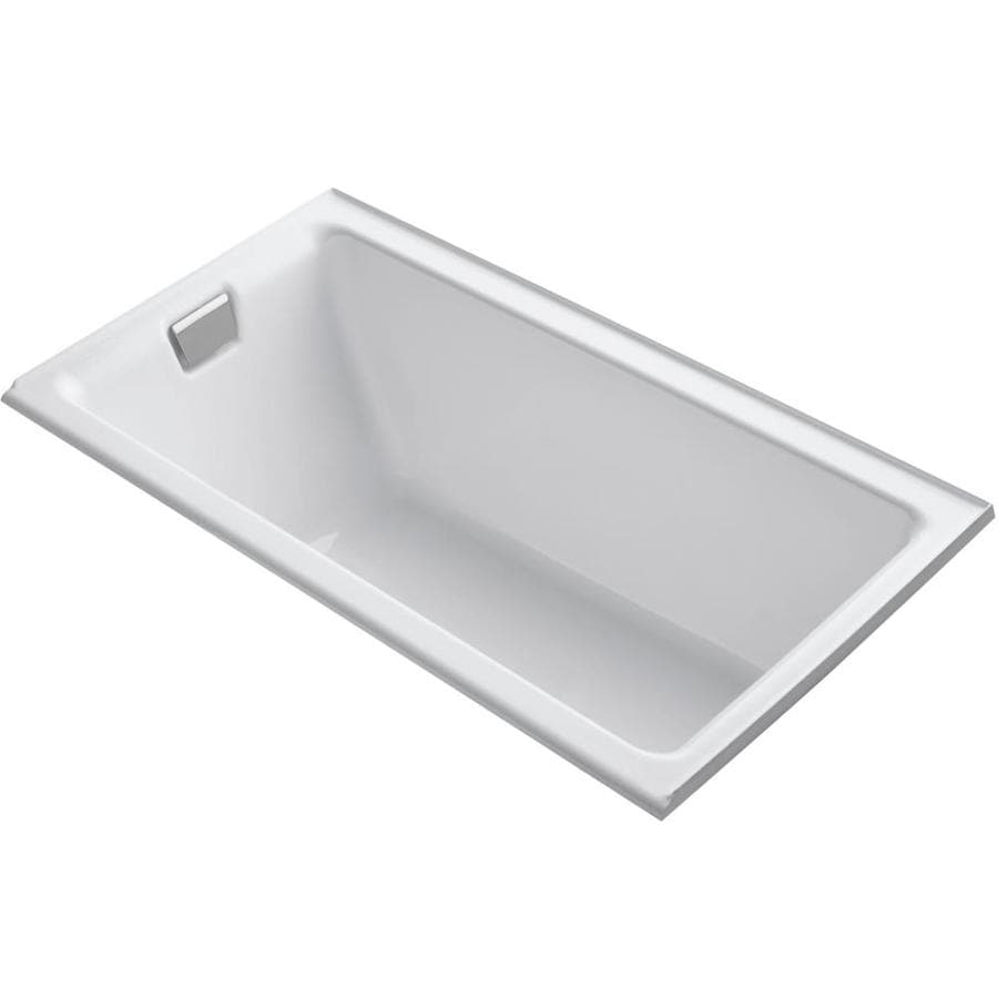 KOHLER Tea-For-Two White Cast Iron Rectangular Drop-in Bathtub with Left-Hand Drain (Common: 36-in x 66-in; Actual: 24-in x 36-in x 66-in)