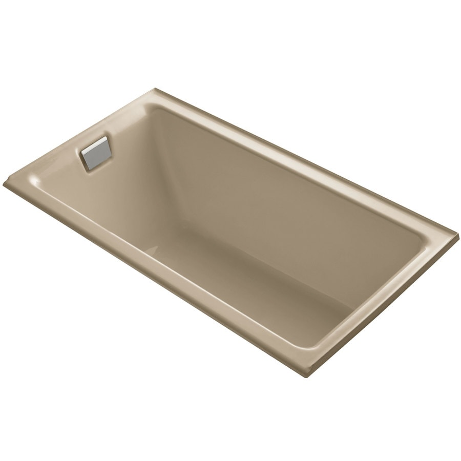KOHLER Tea-for-Two 66-in Mexican Sand Cast Iron Drop-In Bathtub with Left-Hand Drain