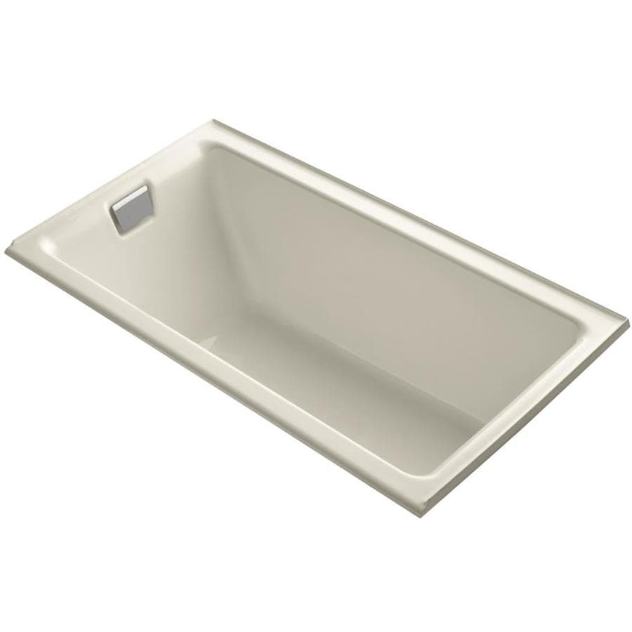 KOHLER Tea-For-Two Almond Cast Iron Rectangular Drop-in Bathtub with Left-Hand Drain (Common: 36-in x 66-in; Actual: 24-in x 36-in x 66-in)