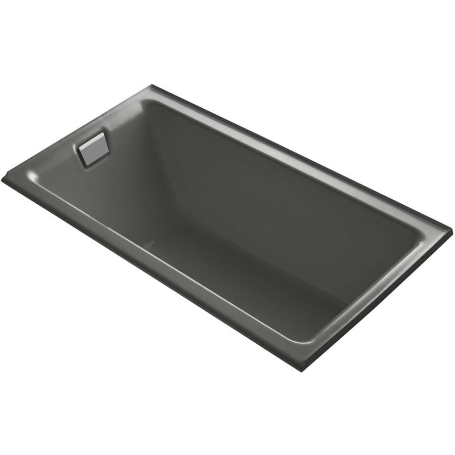 KOHLER Tea-For-Two Thunder Grey Cast Iron Rectangular Drop-in Bathtub with Left-Hand Drain (Common: 36-in x 66-in; Actual: 24-in x 36-in x 66-in)
