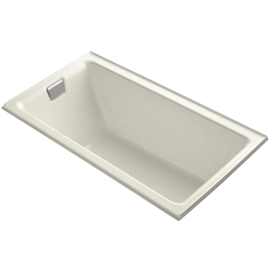 KOHLER Tea-for-Two 66-in Biscuit Cast Iron Drop-In Bathtub with Left-Hand Drain