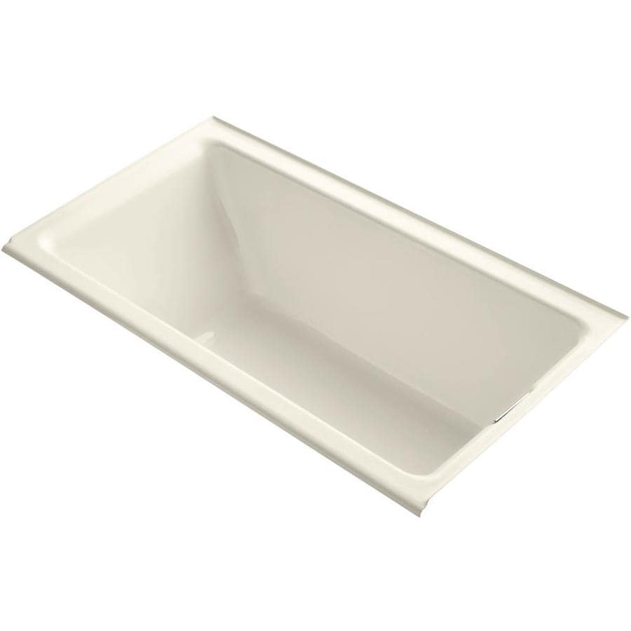 KOHLER Tea-For-Two Almond Cast Iron Rectangular Drop-in Bathtub with Right-Hand Drain (Common: 36-in x 66-in; Actual: 24-in x 36-in x 66-in)
