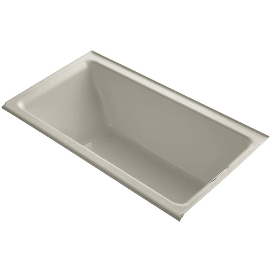 KOHLER Tea-for-Two 66-in Sandbar Cast Iron Drop-In Bathtub with Right-Hand Drain
