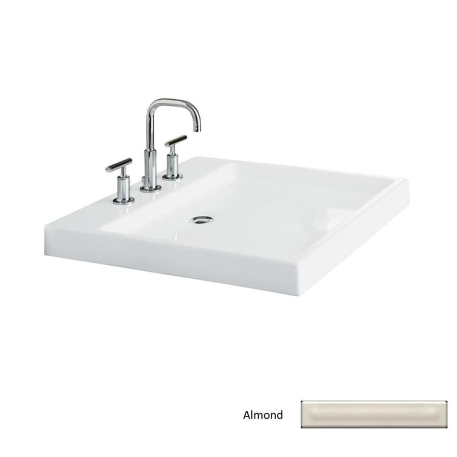 KOHLER Purist Almond Fire Clay Vessel Rectangular Bathroom Sink