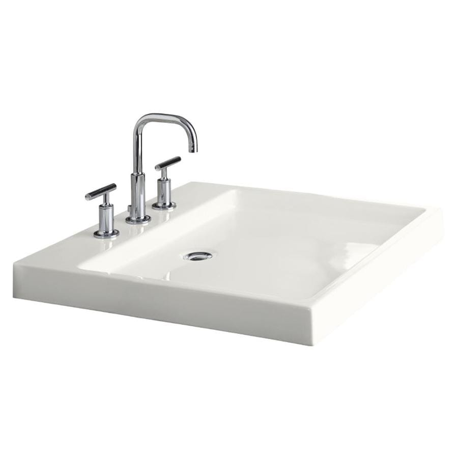 Shop KOHLER Purist White Fire Clay Drop-in Rectangular Bathroom Sink ...