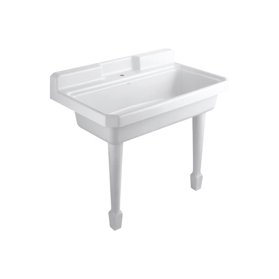 shop kohler 28 in x 48 in white wall mount cast iron laundry sink at. Black Bedroom Furniture Sets. Home Design Ideas