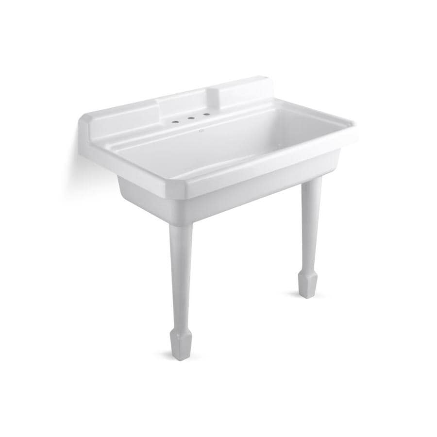 KOHLER 28-in x 48-in White Wall Mount Cast Iron Laundry Utility Sink