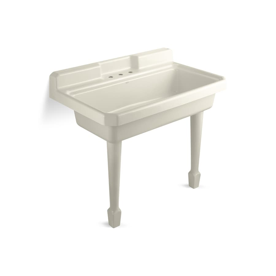 KOHLER 28-in x 48-in Almond Self-Rimming Cast Iron Utility Tub