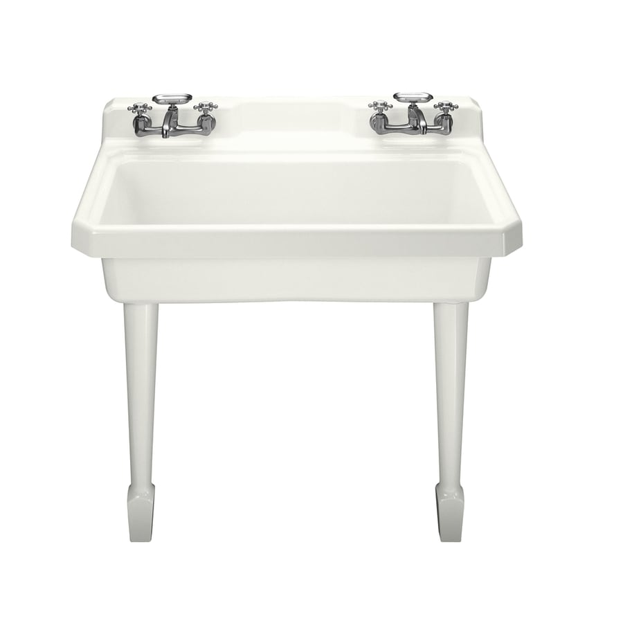 White Utility Sink : ... 48-in 1-Basin White Wall Mount Cast Iron Laundry Sink Utility Sink
