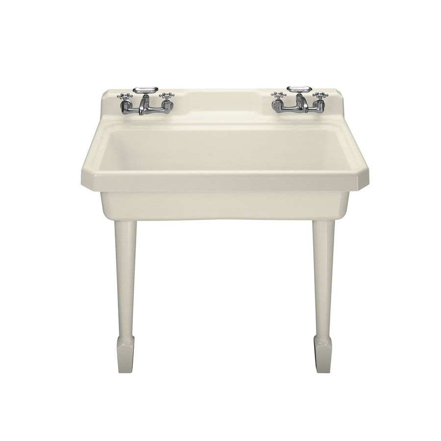 shop kohler 28 in x 48 in almond wall mount cast iron laundry sink at. Black Bedroom Furniture Sets. Home Design Ideas