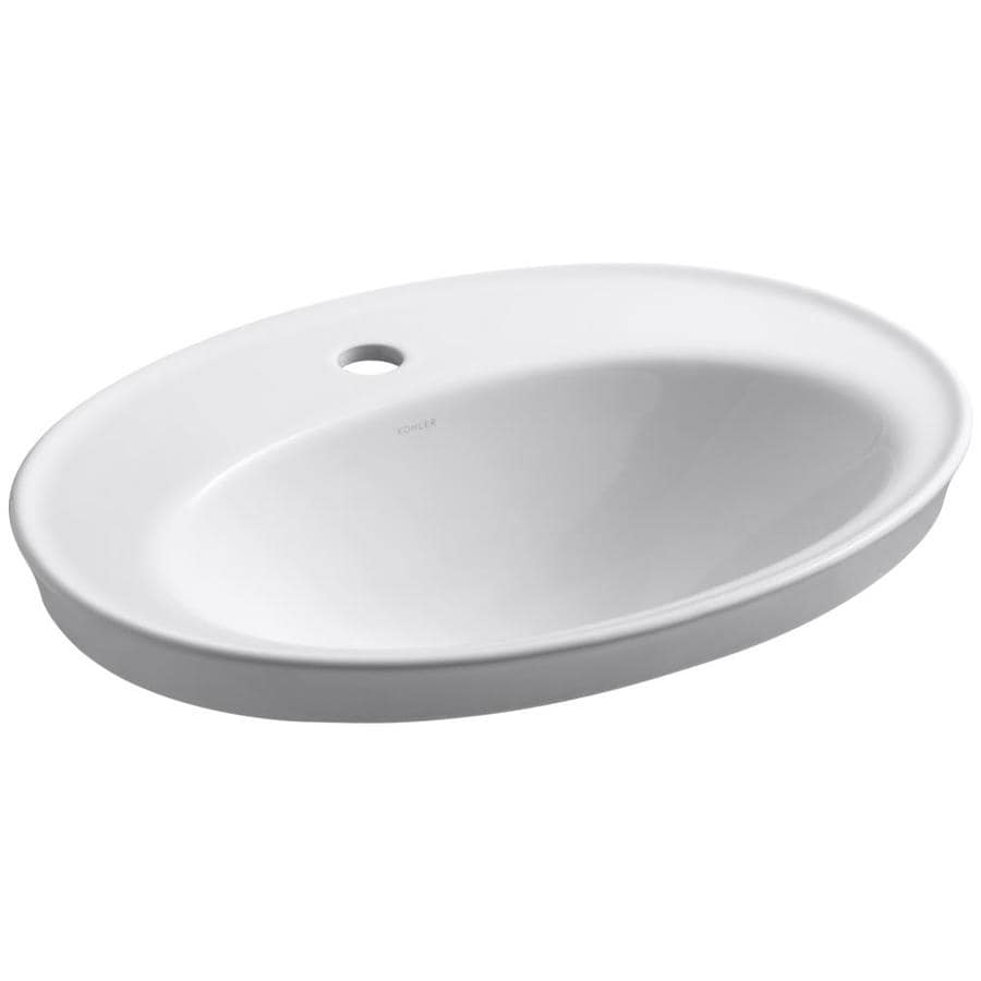 Kohler Serif White Drop In Oval Bathroom Sink With Overflow Drain 22 125 In X 16 25 In In The Bathroom Sinks Department At Lowes Com