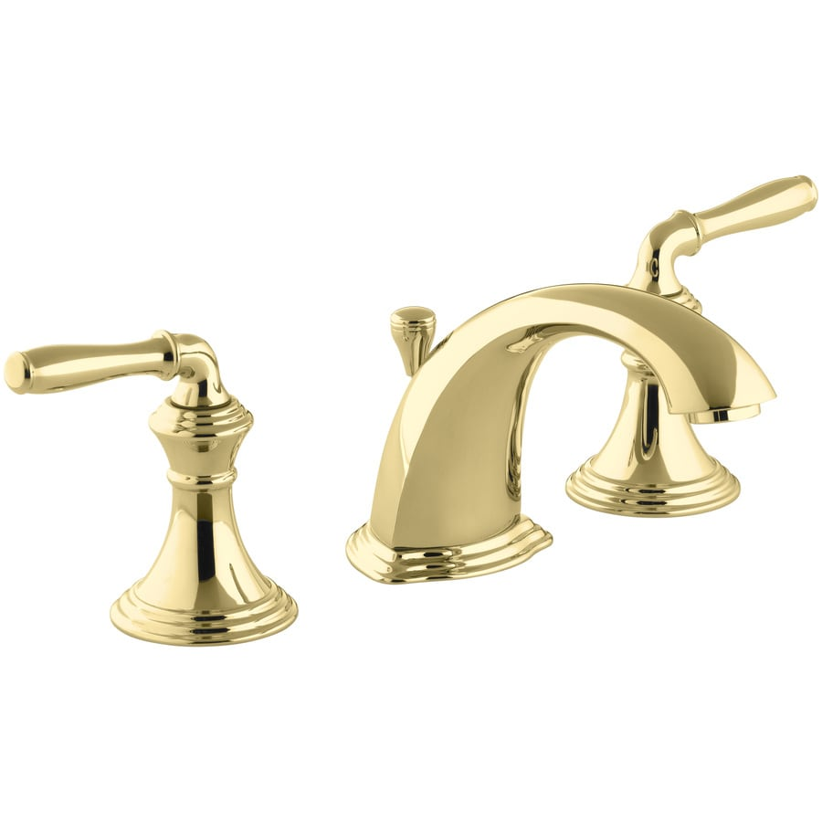KOHLER Devonshire Vibrant Polished Brass 2-Handle Widespread WaterSense Bathroom Faucet (Drain Included)