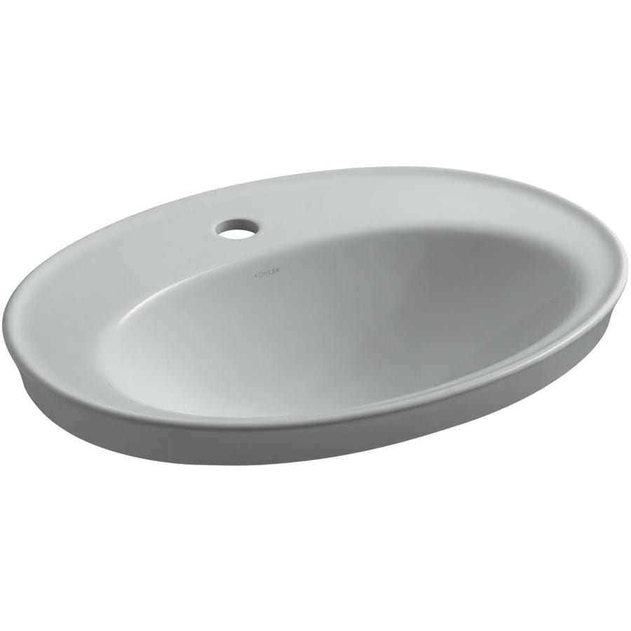 KOHLER Serif Ice Grey Drop-in Oval Bathroom Sink with Overflow