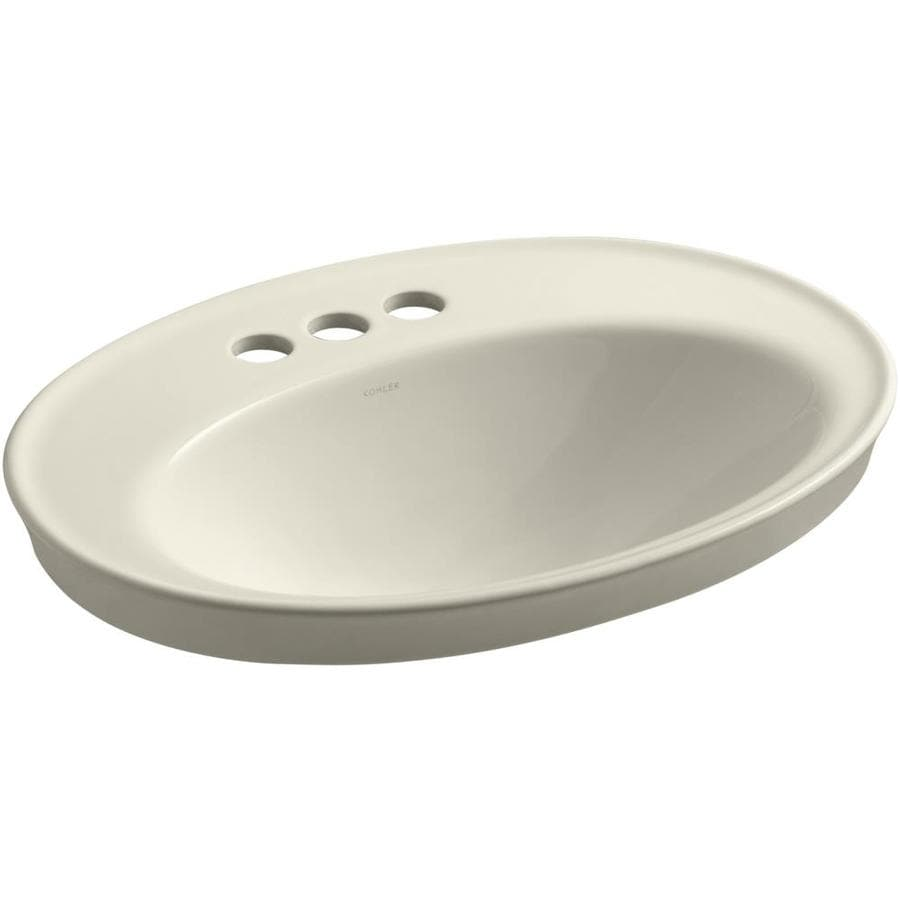 Shop KOHLER Serif Almond Drop In Oval Bathroom Sink With Overflow At