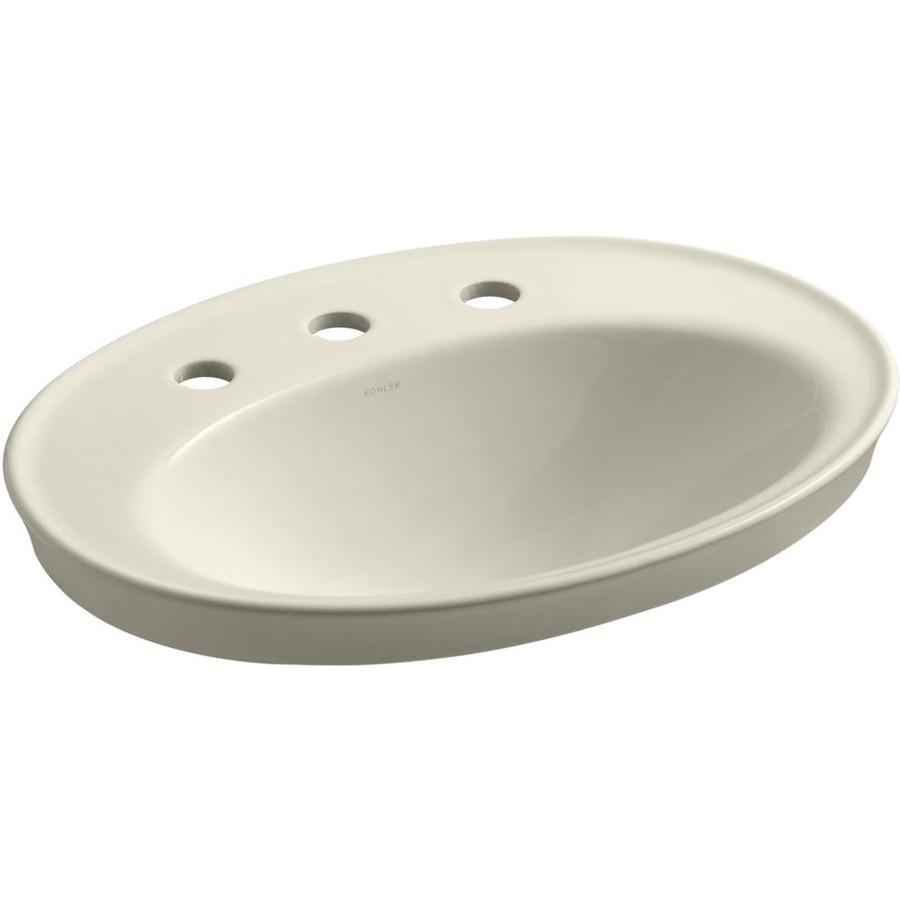 KOHLER Serif Almond Drop-in Oval Bathroom Sink with Overflow