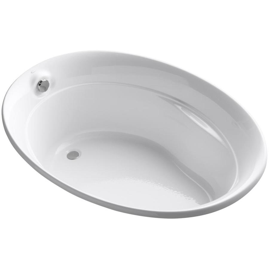 KOHLER Serif White Acrylic Oval Drop-in Bathtub with Reversible Drain (Common: 43-in x 60-in; Actual: 24-in x 42.25-in x 60-in)