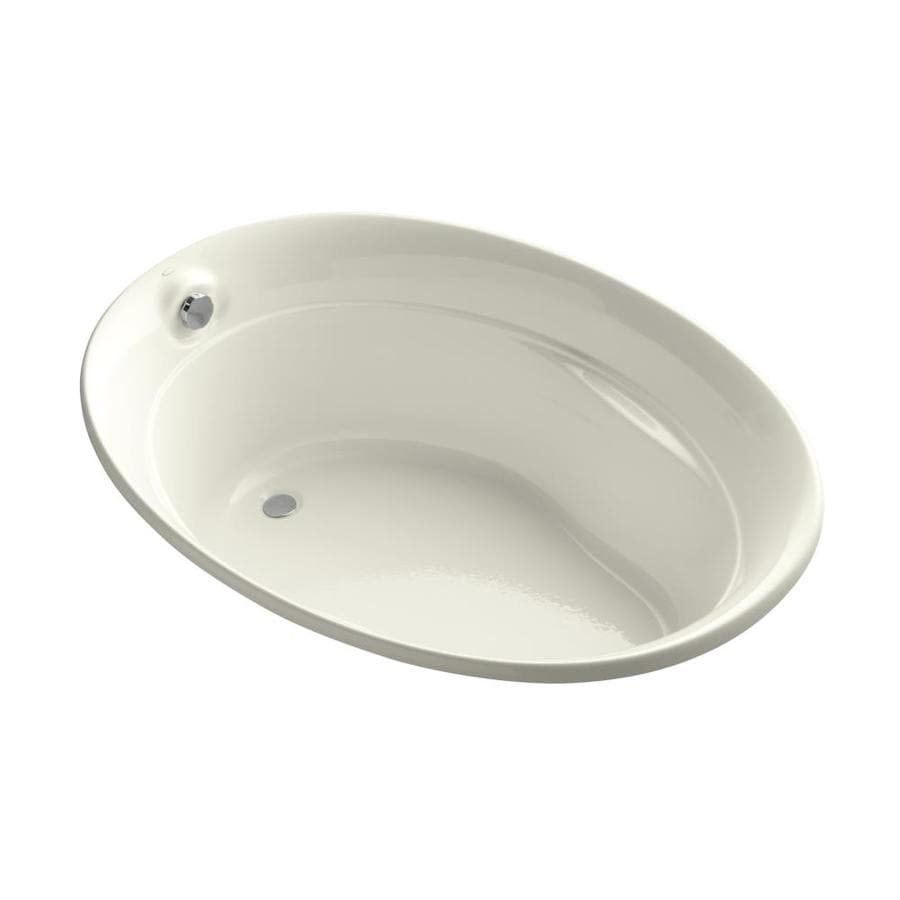 KOHLER Serif Biscuit Acrylic Oval Drop-in Bathtub with Reversible Drain (Common: 43-in x 60-in; Actual: 24-in x 42.25-in x 60-in)