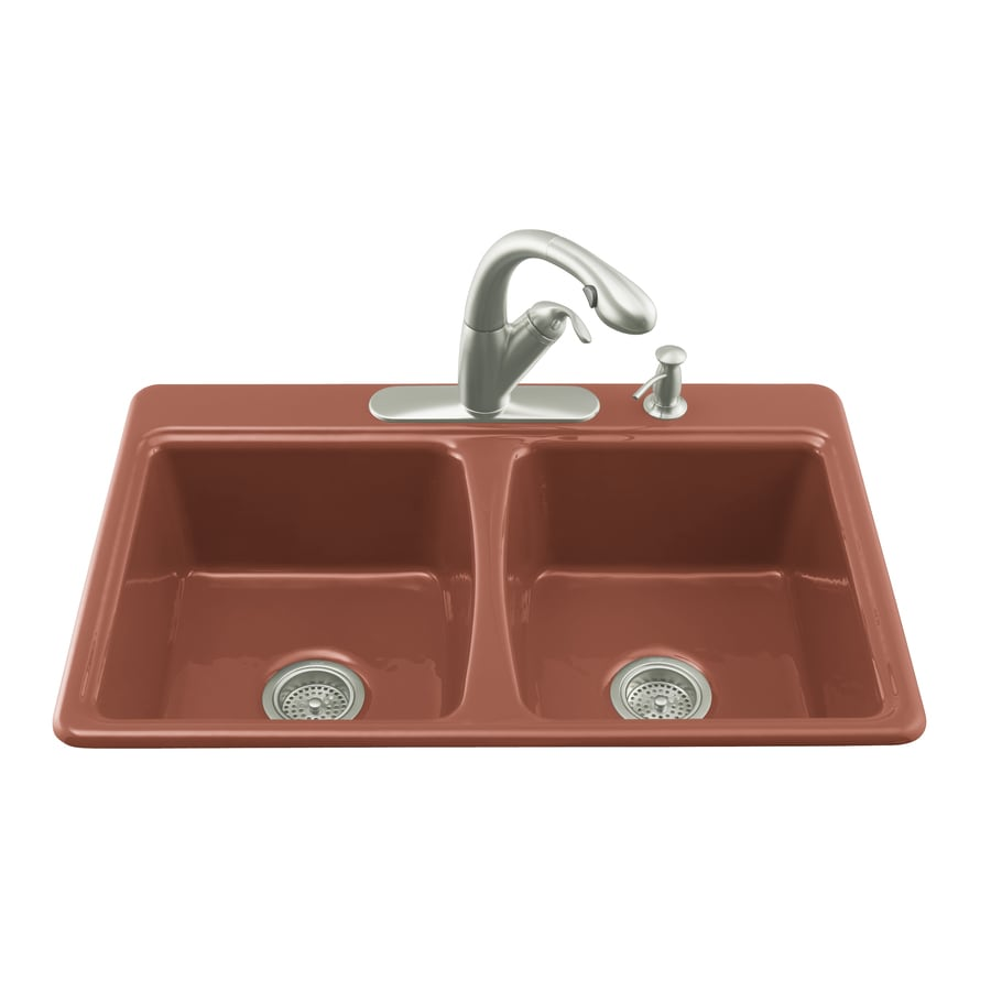 KOHLER Roussillon Red 4 Hole Double Basin Cast Iron Kitchen Sink
