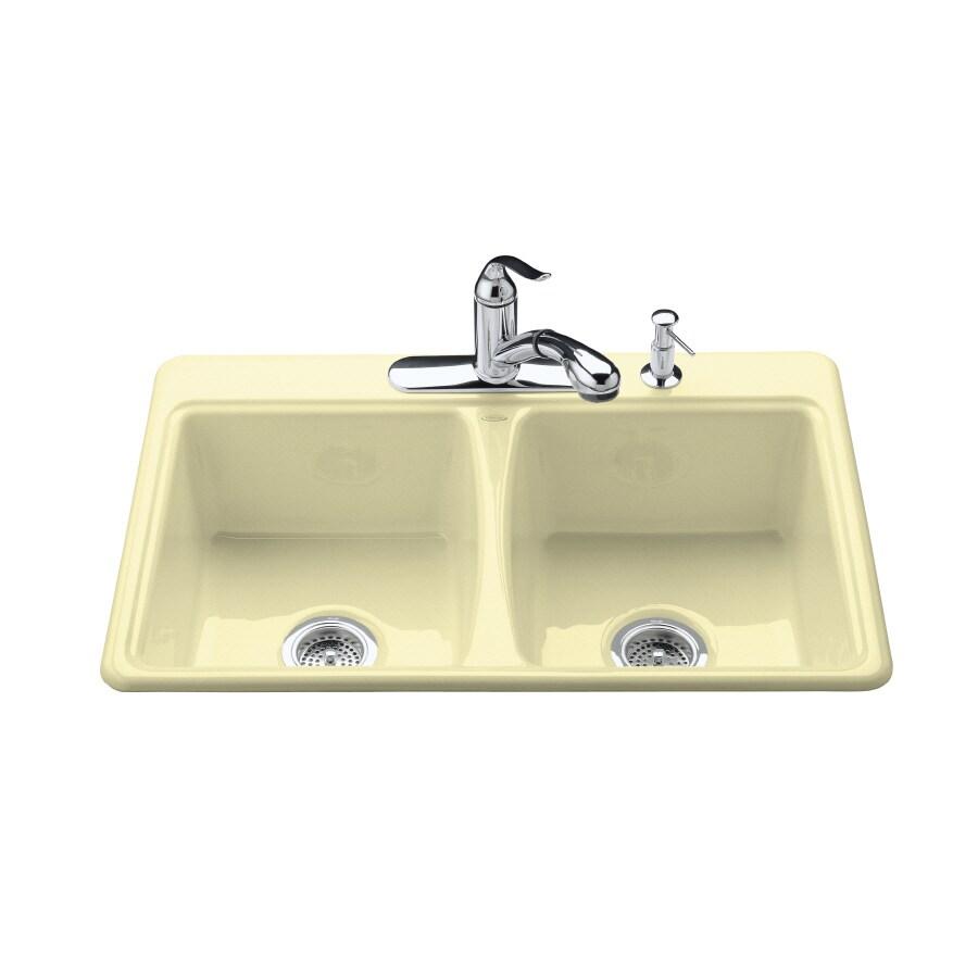 Kohler Double Bathroom Sink: Shop KOHLER Deerfield Double-Basin Drop-in Enameled Cast