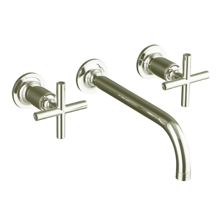 Shop KOHLER Purist Vibrant Polished Nickel Handle Widespread - Kohler wall mount bathroom faucet