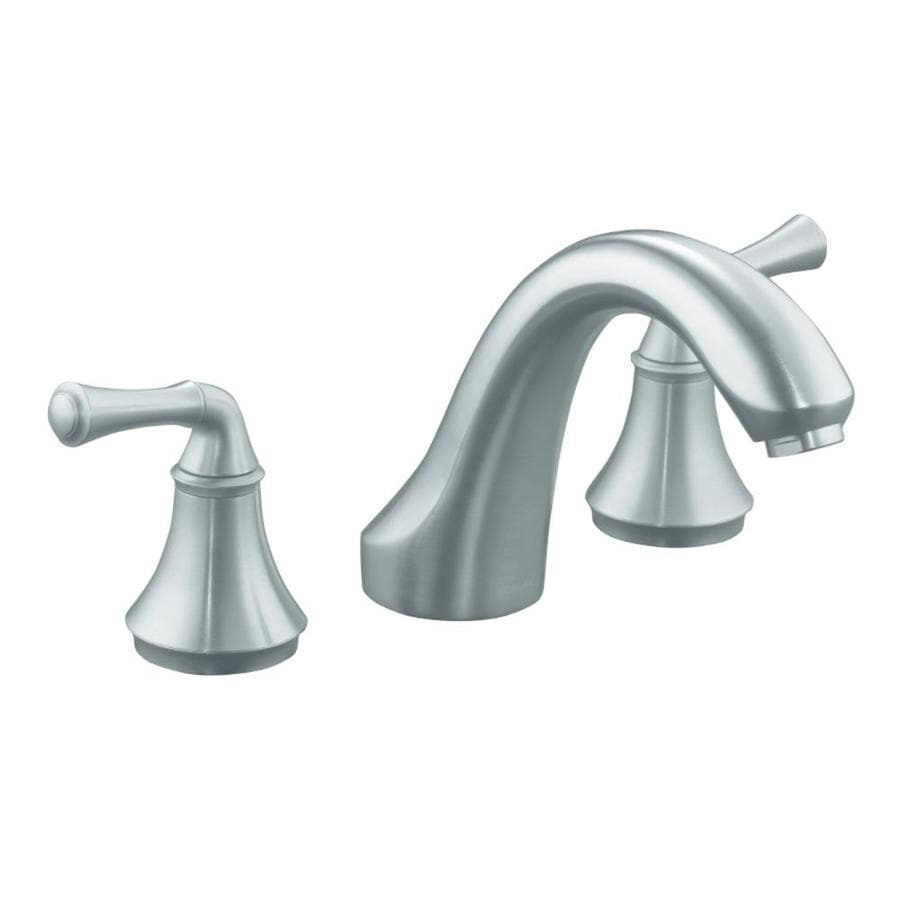 KOHLER Forte Brushed Chrome 2-Handle Fixed Deck Mount Bathtub Faucet